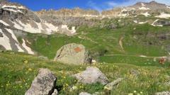 Green Alpine Basin Stock Footage