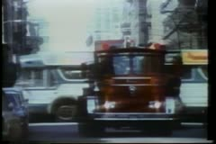Fire truck driving on New York City Street Stock Footage