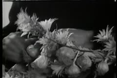 Close-up of hands interlacing flowers and garlic into wreath Stock Footage