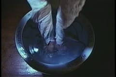 Close-up of person washing  face in basin filled with fish Stock Footage