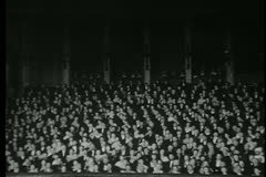 Wide shot of audience in  theater Stock Footage