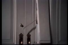 Intruder breaking through wooden door Stock Footage