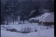 Wide shot of snow covered town Stock Footage