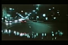 View from moving car at night Stock Footage