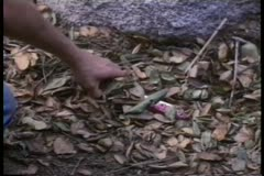 Close-up of hand picking up bloody knife from ground Stock Footage