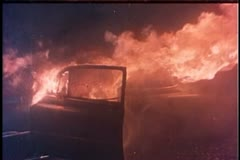 Close-up of car on fire - stock footage