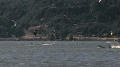 Kiteboarders and windsurfers medium Stock Footage