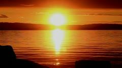 Sunrise at lake sempach in switzerland Stock Footage