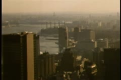 Aerial view of New York City in the 1980s - stock footage