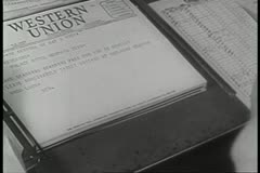 Close-up of Western Union telegram - stock footage
