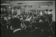 Stock Video Footage of Wide shot of World War II servicemen celebrating