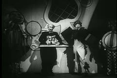 Clown and musicians performing at the circus Stock Footage