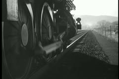 Stock Video Footage of Close-up of steam train moving forward