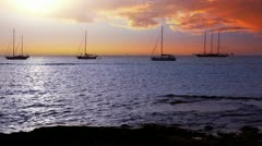 Ibiza sea sunset view from Formentera Balearic islands with Es Vedra in horizon Stock Footage