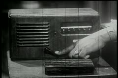 Close-up of man pushing handle of old-fashioned intercom system Stock Footage