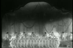 Wide shot of line of dancers performing on stage - stock footage