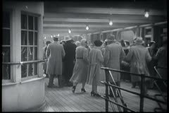 People on deck of ocean liner - stock footage