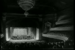 Wide angle view of orchestra performing in theater Stock Footage