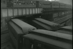 Elevated subway in 1930s New York Stock Footage