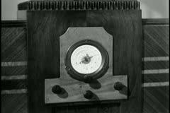 Close-up of1930s radio - stock footage
