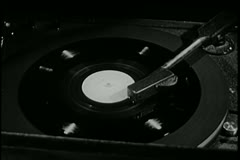 Close-up of record playing on vintage record player - stock footage