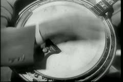Close-up of man playing banjo - stock footage