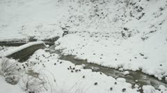 Long shot of snow monkeys scavenging for food in the snow, Jigokudani, Japan. Stock Footage
