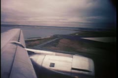 View from wing of airplane on runway - stock footage