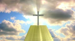 Cross in sky with steps to heaven Stock Footage