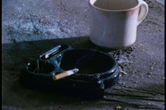Close-up of cigarette burning in ashtray Stock Footage