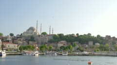 ISTANBUL, TURKEY: View to the Suleymaniye Mosque from the seaside. Stock Footage