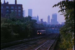 Metro North train traveling through Forest Hills, New York - stock footage
