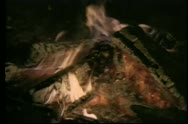 Stock Video Footage of Close-up of log fire