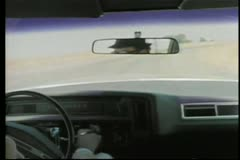 View from inside of car on highway - stock footage