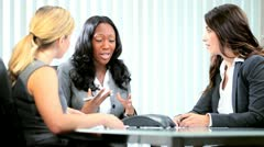 Multi ethnic business female team planning corporate interaction  Stock Footage