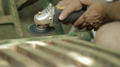 Electrical metallic disc cleaner on the railing Stock Footage