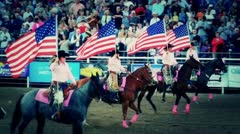 Horses and Flags at Rodeo Stock Footage
