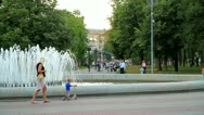 Relax by the fountain Stock Footage