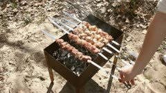 Beef kababs on the grill Stock Footage