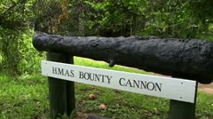 The original cannon of the bounty on Pitcairn Island Stock Footage