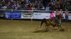Slow Motion Wild West Barrel Racing - stock footage