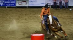 Slow Motion Rodeo Barrel Racing Stock Footage