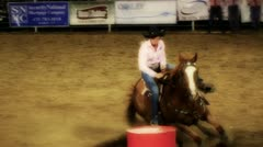 Cowgirl Barrel Racing Slow Motion - stock footage