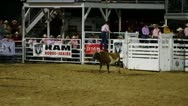 Stock Video Footage of Rodeo Clown Jumps Over Bull Slow Motion