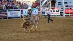 Bucking Saddle Bronc at Rodeo Stock Footage