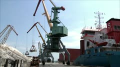 Crane in the sea port 1 Stock Footage