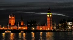 Big Ben with the Houses of Parliament and River Thames London at sunset. Stock Footage