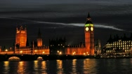 Stock Video Footage of Big Ben with the Houses of Parliament and River Thames London at sunset.