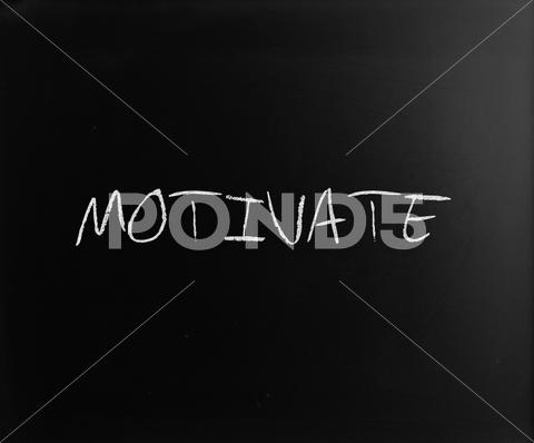 "Stock Illustration of ""motivate"" handwritten with white chalk on a blackboard"