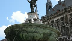 Charlemagne as a statue in front of the Aachen City Hall Stock Footage